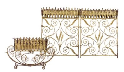 A GILT-METAL TWO TIER JARDINER