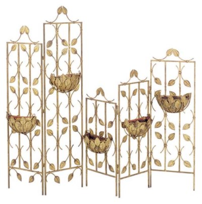 TWO GILT-METAL FLORAL DECORATE
