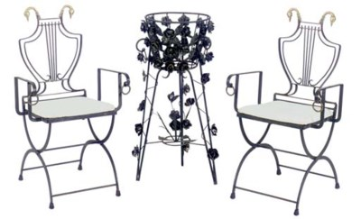 A PAIR OF WROUGHT IRON CHAIRS,