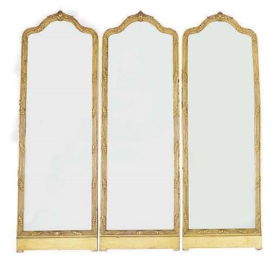 A GILTWOOD TRIPLE PANEL MIRROR