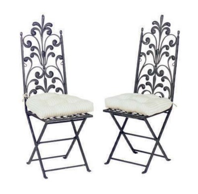 A PAIR OF BLACK PAINTED WROUGH