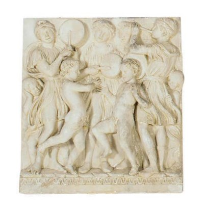 A PLASTER RELIEF DECPICTING A