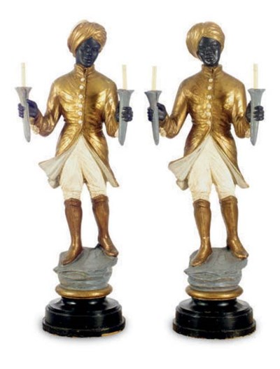 A PAIR OF POLYCHROME PAINTED P