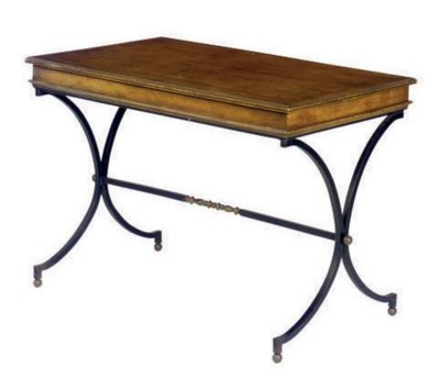 A FRUITWOOD AND WROUGHT IRON W