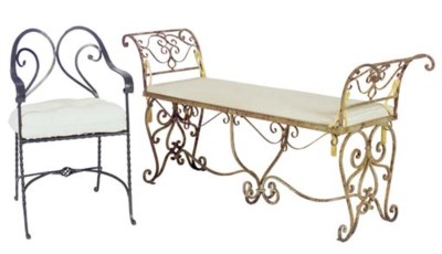 A WROUGHT IRON BENCH AND TWO B