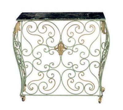A GREEN PAINTED WROUGHT IRON M