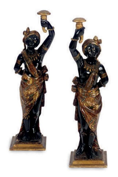 A PAIR OF POLYCHROME PAINTED B