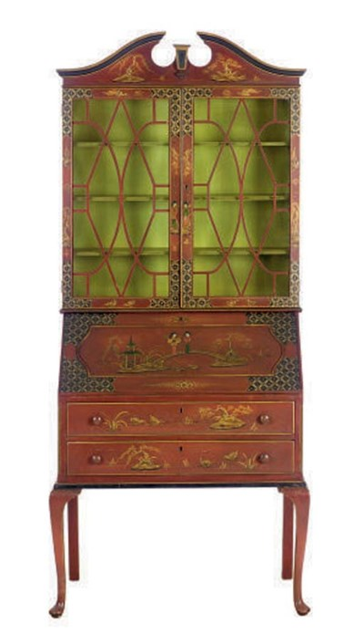 A RED JAPANNED SECRETAIRE BOOK
