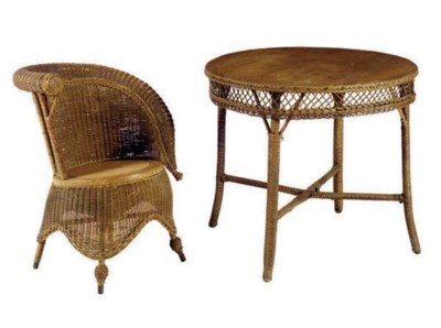 A GROUP OF WICKER FURNITURE,