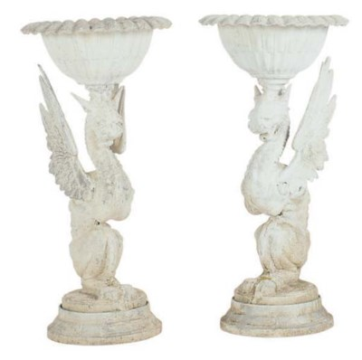 A PAIR OF CAST METAL GRIFFIN-F