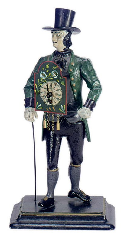 A PAINTED METAL FIGURAL CLOCK,