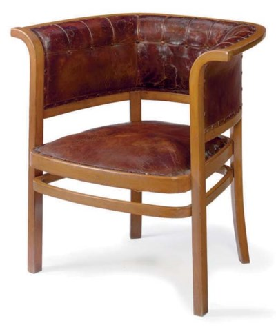 A LEATHER UPHOLSTERED BEECH AR