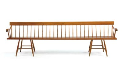 A LONG MAPLE SHAKER BENCH