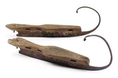A PAIR OF WOODEN AND IRON ICE