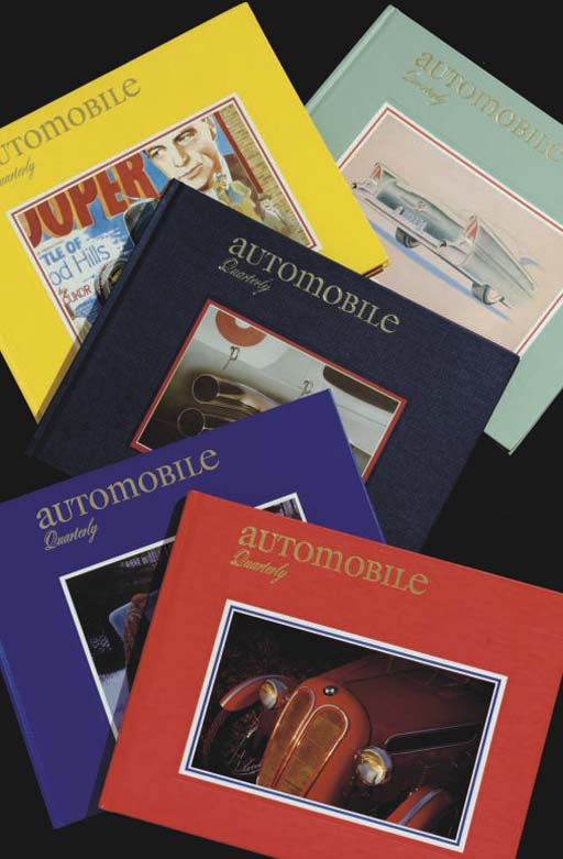 A complete run of Automobile Quarterly books from Volume 1, Number 1 to Volume 41, Number 4.  All in good condition with minimal wear. Early volumes show some fading as would be expected given age.