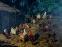 Roosters in the farmyard
