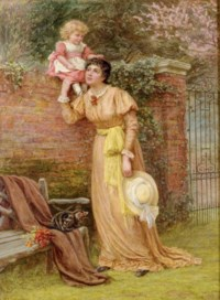 Mother and child playing in the garden
