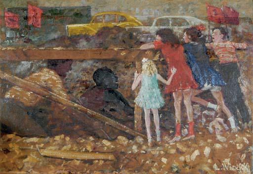 Children watching street construction