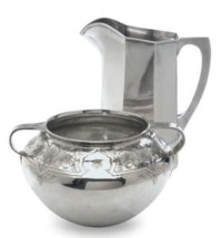 AN AMERICAN SILVER PITCHER AND TWO-HANDLED BOWL,