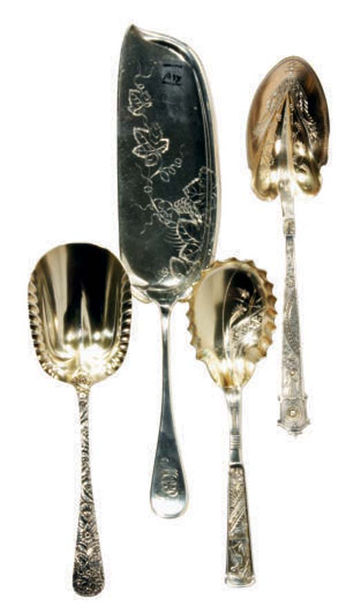 FOUR AMERICAN SILVER SERVING P