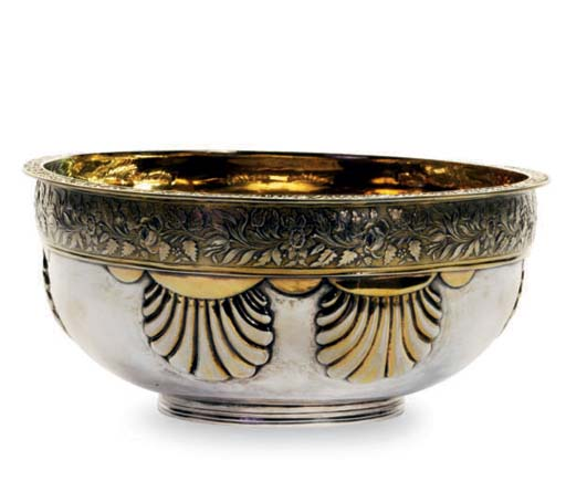 A RUSSIAN SILVER-GILT BOWL,