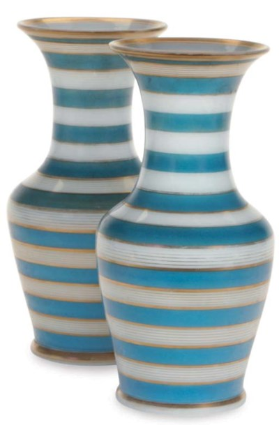 A PAIR OF BLUE AND GILT BANDED