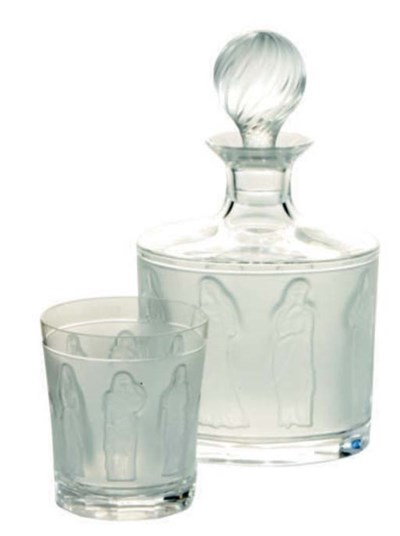 A FRENCH GLASS DECANTER WITH S