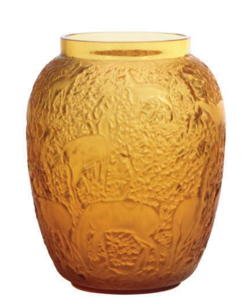 A FRENCH MOLDED GLASS VASE,