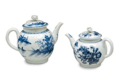 TWO ENGLISH BLUE AND WHITE TEA