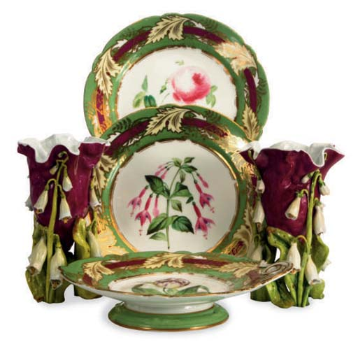 AN ENGLISH PORCELAIN GILT AND
