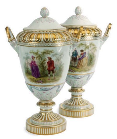 A PAIR OF GERMAN PORCELAIN TWO