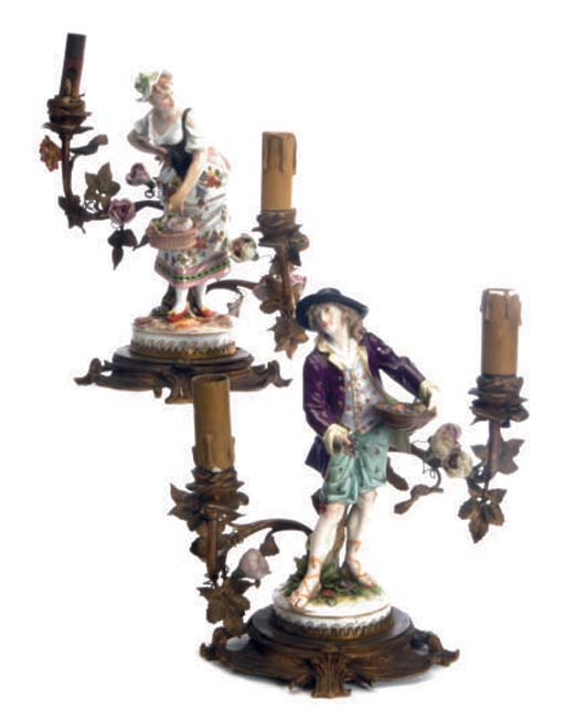 TWO GILT METAL AND MEISSEN STY