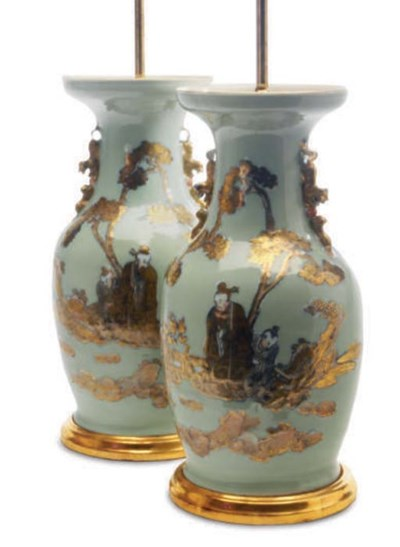 A PAIR OF CHINESE CELADON-GLAZ