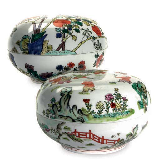 TWO CHINESE PORCELAIN ROUND BO