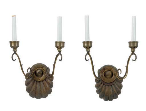 A SET OF FOUR CARVED WOOD AND