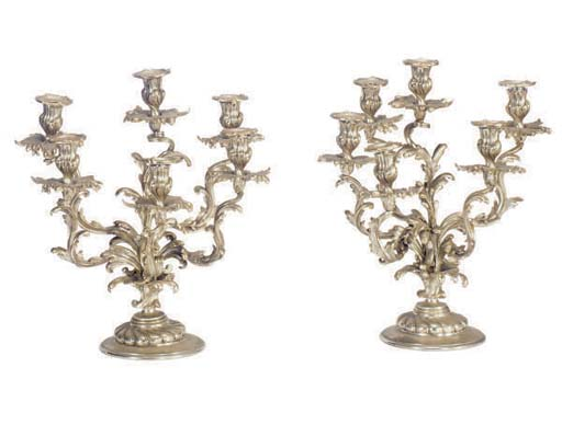 A PAIR OF PARCEL-GILT AND SILV