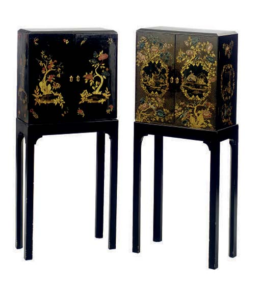 A SIMILAR PAIR OF BLACK, GILT