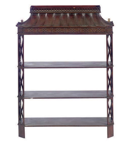 A MAHOGANY THREE-TIER SHELF,