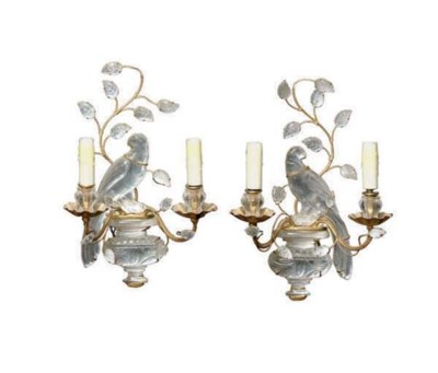 A PAIR OF ROCK CRYSTAL SCONCES