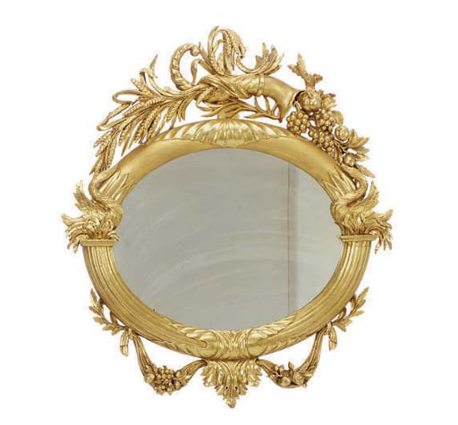 A CLASSICAL GILTWOOD OVERMANTE