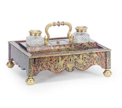 A FRENCH BOULLE MARQUETRY INK