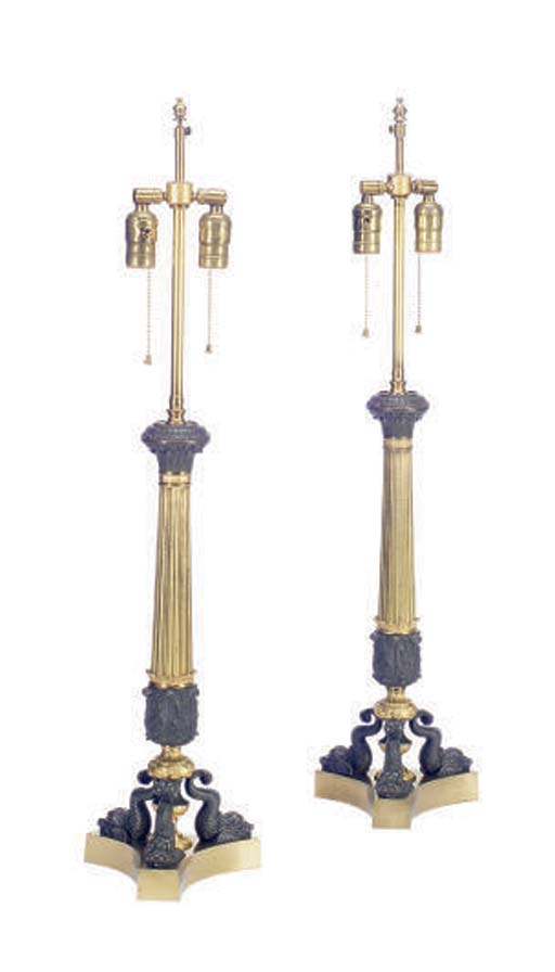 A PAIR OF GILT-METAL AND PATIN