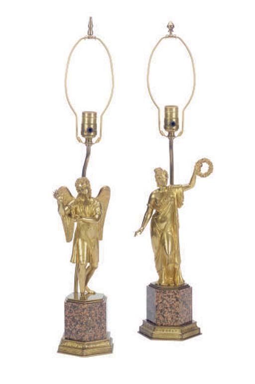 TWO FRENCH RESTAURATION GILT-B