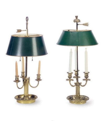 TWO BRONZE BOUILLOTTE LAMPS WI