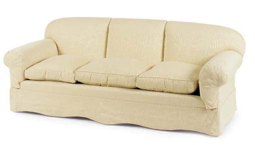 AN UPHOLSTERED THREE-SEAT SOFA