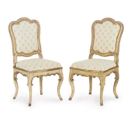 FOUR ITALIAN PARCEL-GILT CREAM