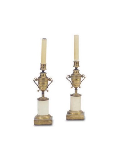 A PAIR OF GILT-BRONZE AND FAUX