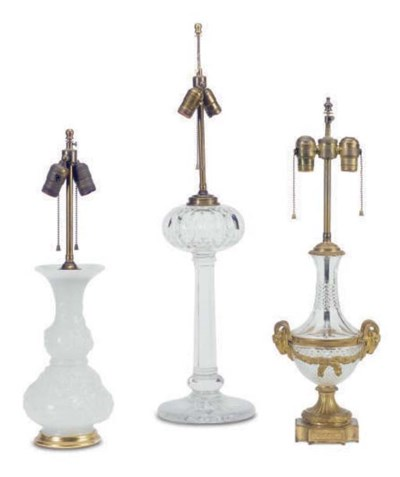 A GROUP OF THREE TABLE LAMPS,