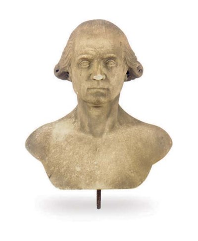 A MARBLE BUST OF GEORGE WASHIN