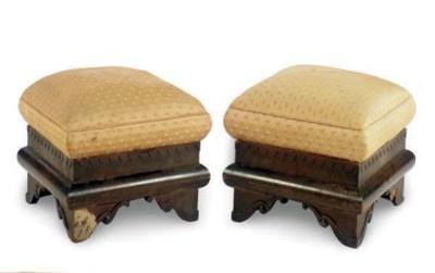A PAIR OF MAHOGANY FOOT STOOLS